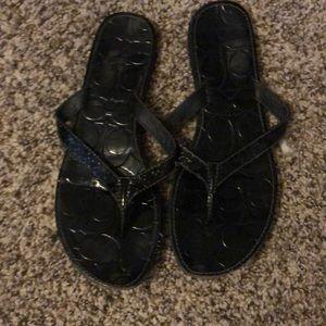 Patent Leather Coach Flip Flops